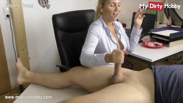 babe amateur MyDirtyHobby - Busty secretary gives her boss a handjob at the office while smoking